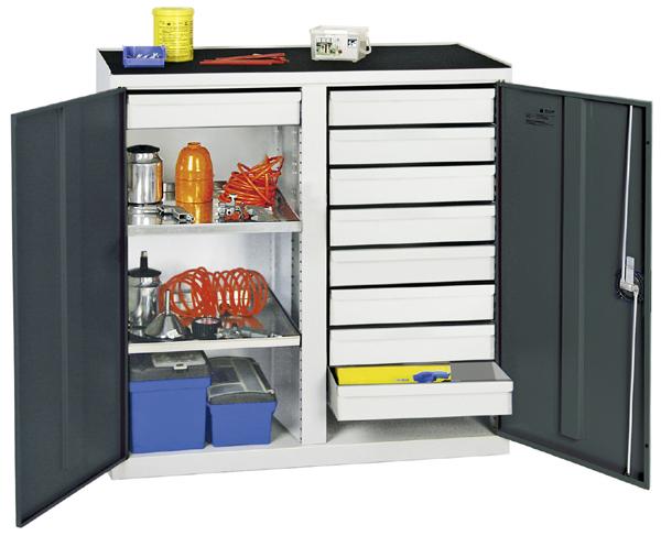Werkzeugschrank mit 2 Abteilen, Höhe 100 cm, 9 Schubladen, 2 Fachböden, lichtgrau / anthrazitgrau