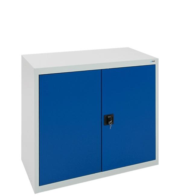 Flügeltürenschrank, lichtgrau-enzianblau