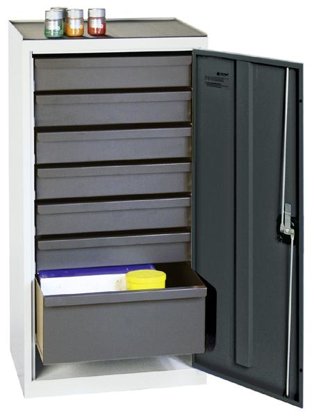 Werkzeugschrank, Höhe 100 cm, 6 Schubladen, 1 hohe Schublade, lichtgrau / anthrazitgrau