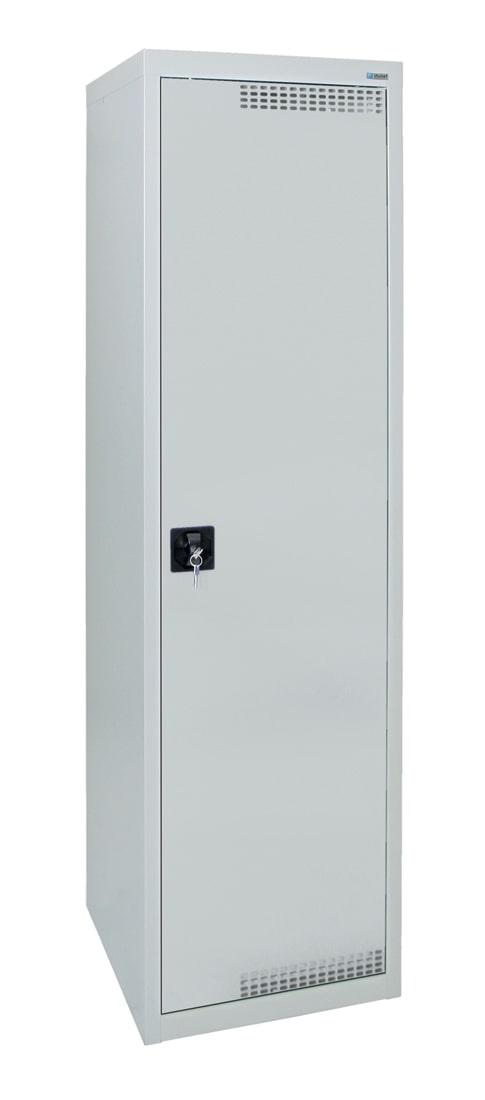 Garderobenschrank, mit 420 mm breitem Abteil, lichtgrau