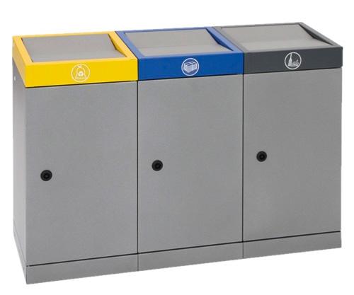 Abfalltrennung ProTec-Plus, Set: 3 x 70 Liter
