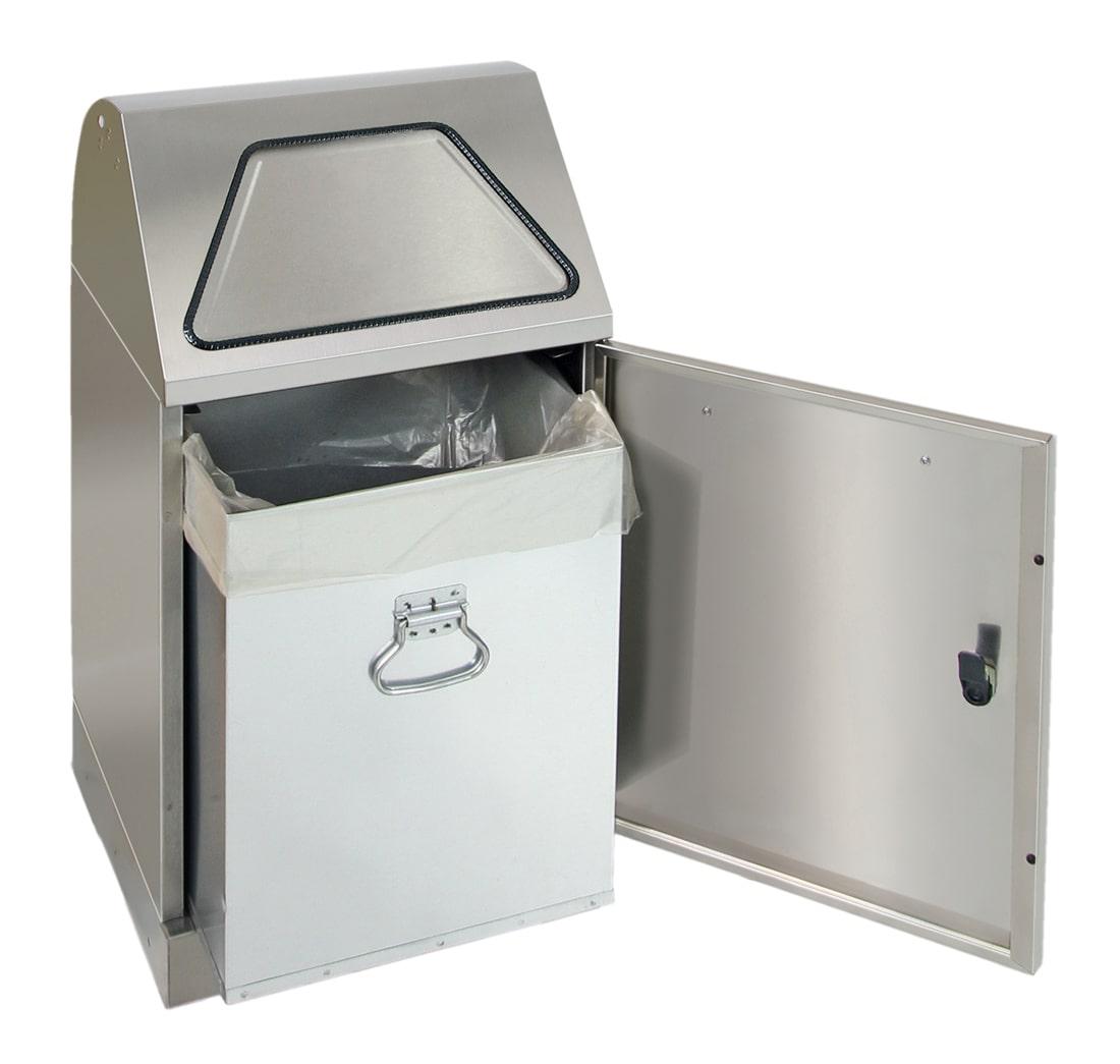 Abfalltrennung Modul-Vario 45, Stahleinsatz, Trethebel, edelstahl