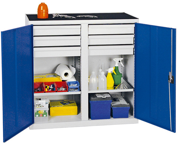 Werkzeugschrank Serie 2000, mit Mitteltrennwand, lichtgrau/blau