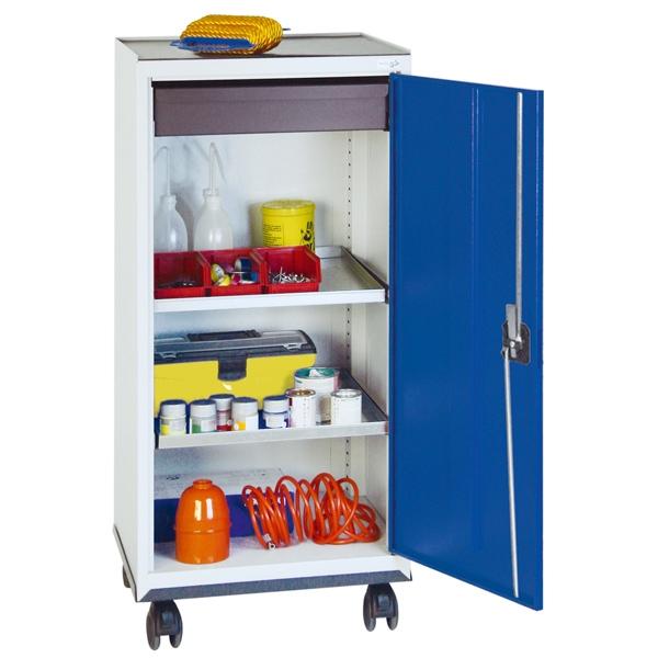Werkzeug- und Materialschrank Serie 3000, fahrbar, lichtgrau/blau