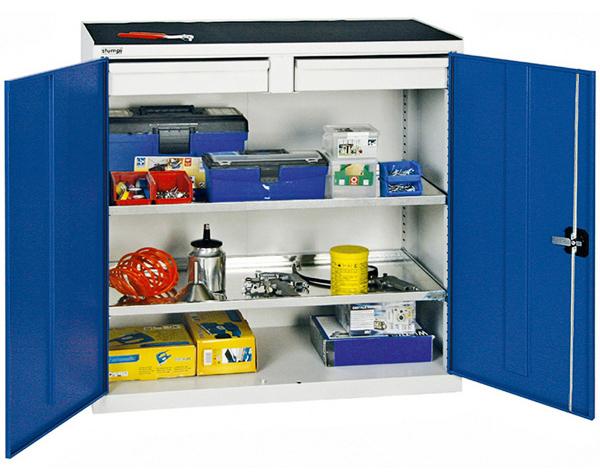 Werkzeug- und Beistellschrank Serie 2000, lichtgrau/blau