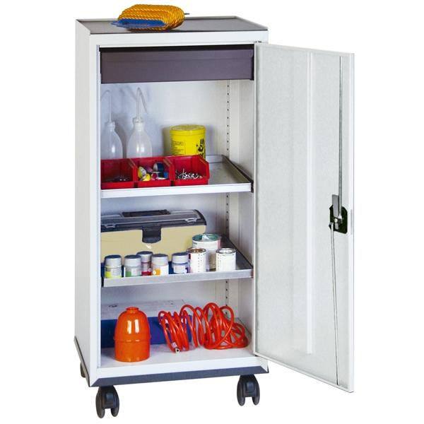 Werkzeug- und Materialschrank Serie 3000, fahrbar, lichtgrau