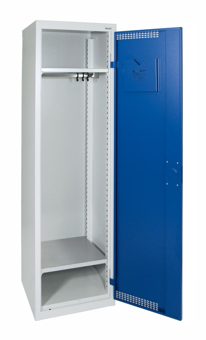 Garderobenschrank, mit 420 mm breitem Abteil, lichtgrau / enzianblau