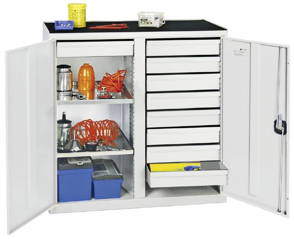 Werkzeugschrank mit 2 Abteilen, Höhe 100 cm, 9 Schubladen, 2 Fachböden, lichtgrau