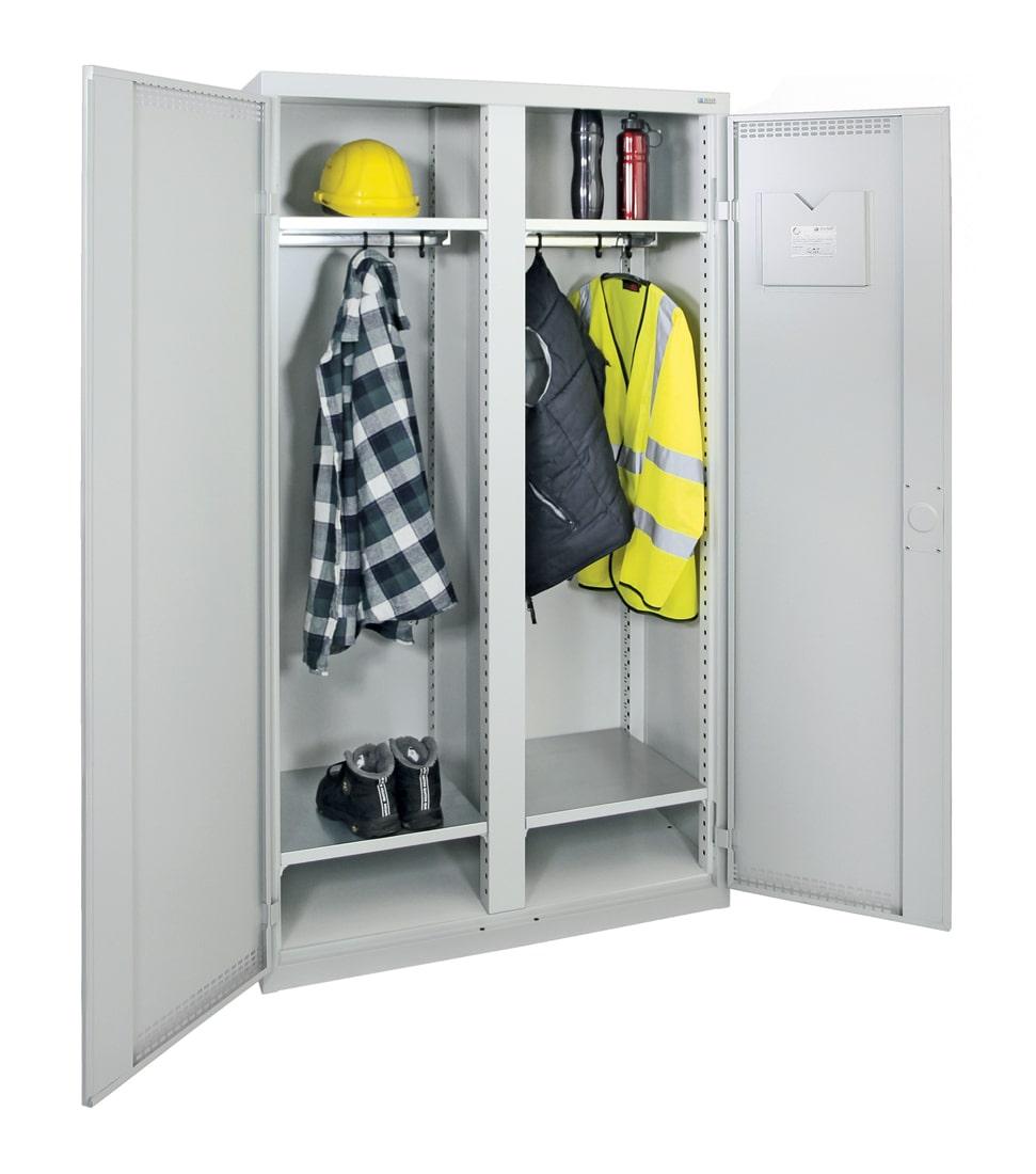 Garderobenschrank, zwei Abteile, lichtgrau