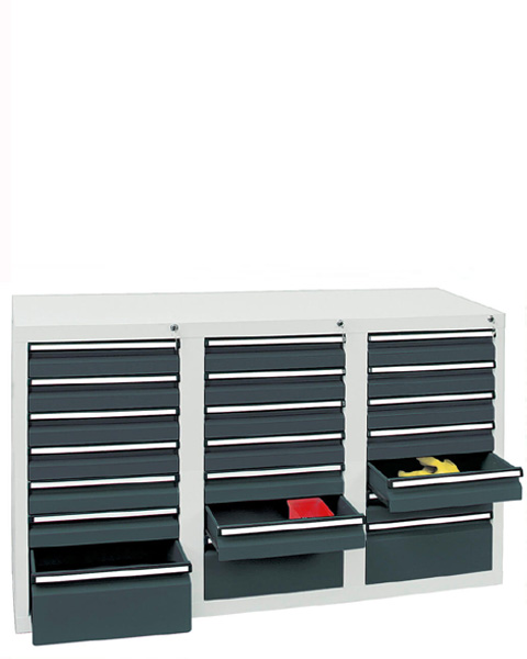 Schubladenschrank Serie ST 410-3, mit Teleskopführungen