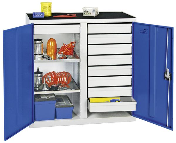 Werkzeugschrank mit 2 Abteilen, Höhe 100 cm, 9 Schubladen, 2 Fachböden, lichtgrau / enzianblau