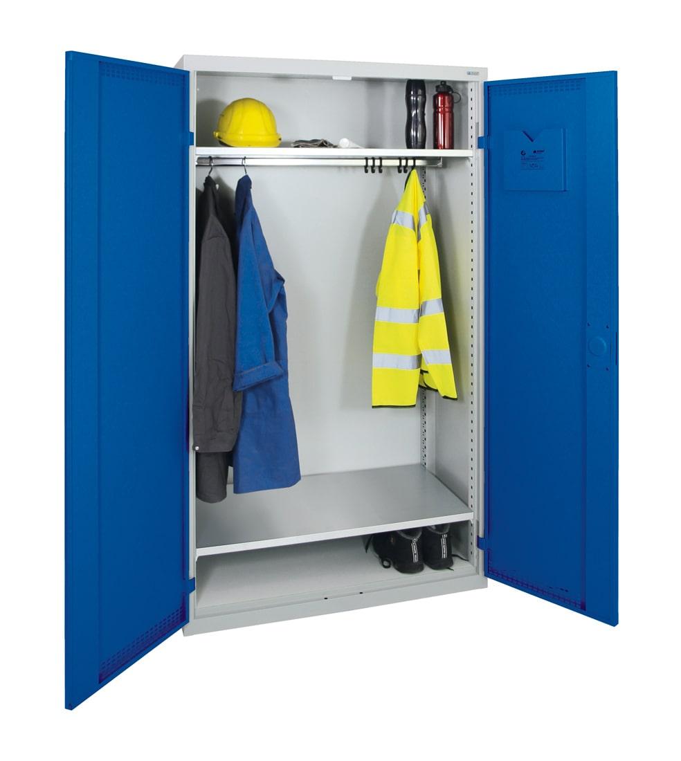 Garderobenschrank, ein großes Abteil, lichtgrau / enzianblau