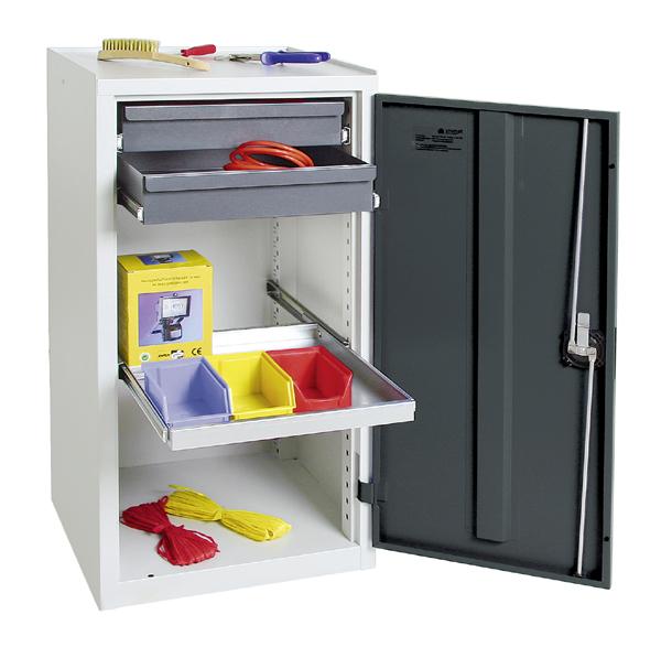 Werkzeugschrank, Höhe 100 cm, 1 ausziehbarer Wannenboden, 2 Schubladen, lichtgrau / anthrazitgrau
