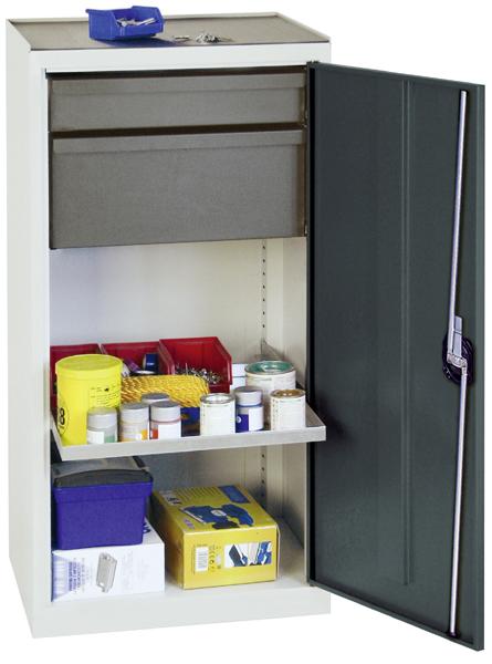 Werkzeugschrank, Höhe 100 cm, 2 ausziehbare Wannenböden, 1 Schublade, 1 hohe Schublade, lichtgrau /