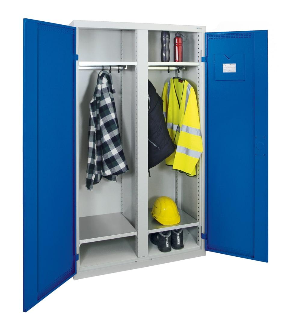 Garderobenschrank, zwei Abteile, lichtgrau / enzianblau