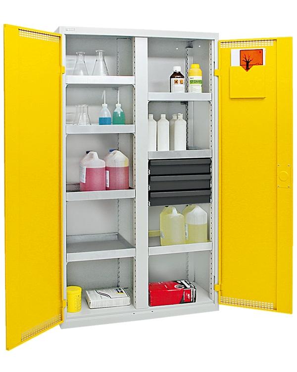 Umweltschrank Basic-Plus-5, lichtgrau/gelb